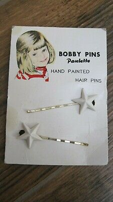 Vintage Hair Pins - Silver Hand Painted