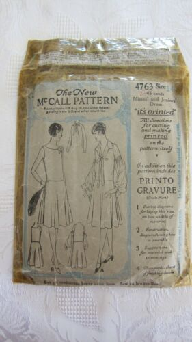 Antique 1928 Misses Dress Sewing Pattern The New McCall Pattern #4763- Size 14
