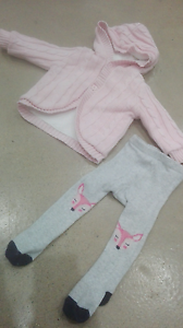Baby Girl 0 Pink Winter Hooded Jacket with combined socks Ainslie North Canberra Preview