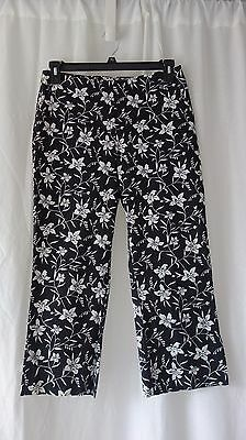 GAP Stretch Black White Multi Color Floral Cotton Blend Pants SZ 8 NWT