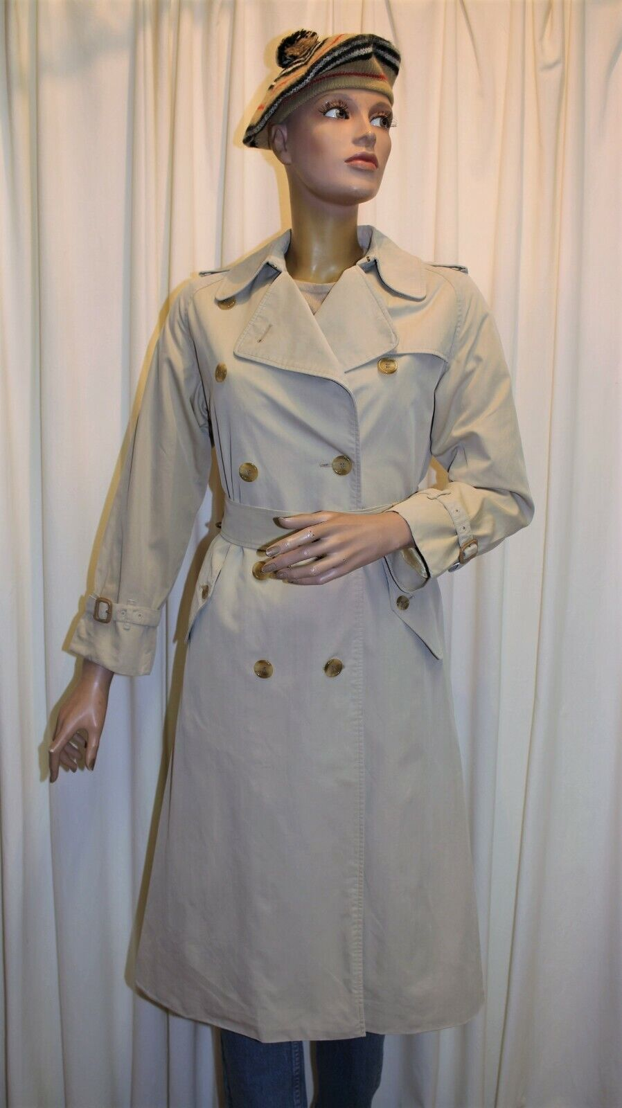 Trench imperméable burberry's vintage 70's 100% coton écru t38 made in england