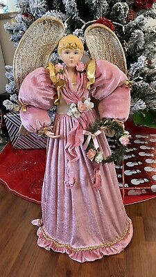 """Angel Christmas Tree Topper 27"""" Not Light Up Pink Ceramic Face Hands"""
