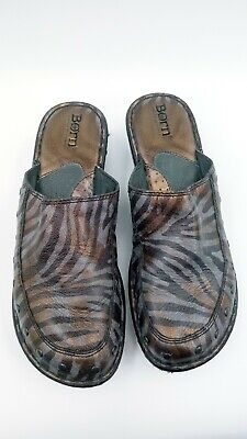 Børn Womens Leather Animal Print Mules Clogs Comfort Shoes Zebra Size 8 Animal Print Clog