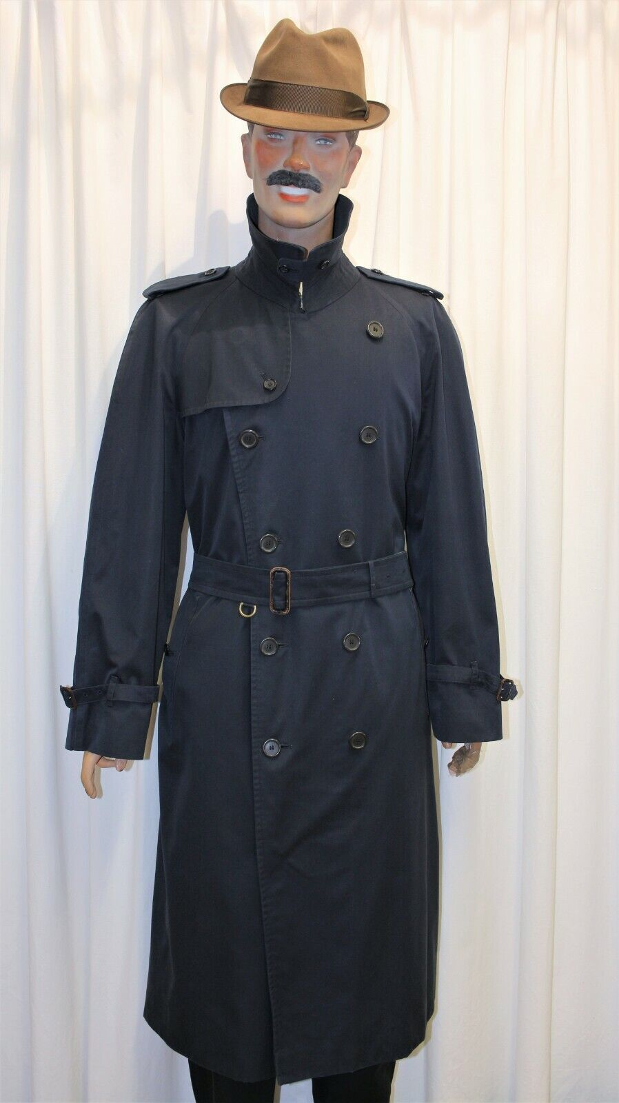 Trench imperméable burberry's homme bleu marine taille 60 l made in england
