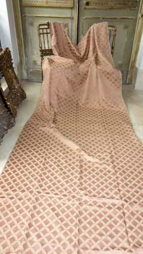 FRENCH ANTIQUE FABRIC LOVELY UNUSED TRELLIS EFFECT UPHOLSTERY DRAPES PINK-BEIGE
