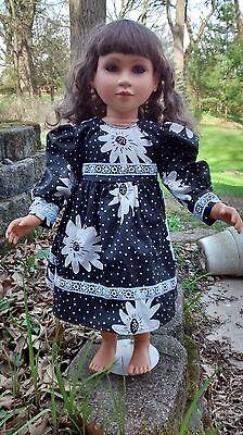 Black and White flowered dress fits My Twinn 23 inch doll handmade new