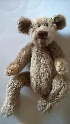 TY ATTIC TEDDY BEAR SHELF SITTER 1993 BROWN MOHAIR LOOK 9 INS RETIRED TRADITIONA