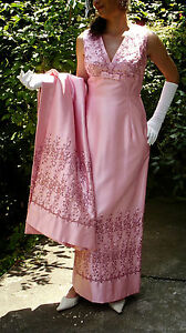 Vtg-Genuine-50s-60s-Pink-Satin-Dress-Coat-Ensemble-Wedding-Size-8-10-Beautful
