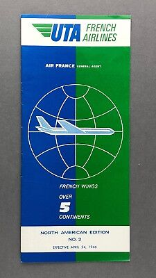 UTA FRENCH AIRLINES TIMETABLE APRIL 1966 ISSUE NO.2  ROUTE MAP U.T.A.