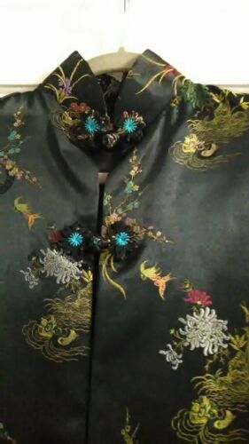Vintage Black Embroidered Silk Satin Kimono Jacket Duster Size Med