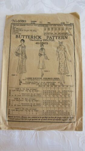 Antique 1919 Butterick Pattern Including Deltor # 6980- Ladies Dress, Bust 34.