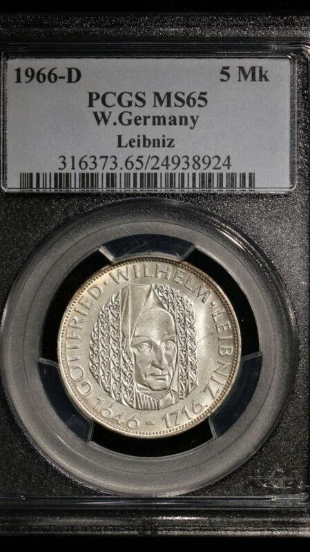 1966-D W.Germany 5 Marka PCGS MS 65 Leibniz