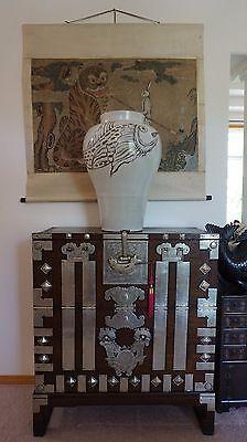 "Monumental Very Large Korean Bunchong Porcelain Jar with Fish Motif 24"""