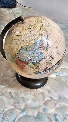 "Vintage Rand McNally Terrestrial 12"" Raised Globe Metal Stand"