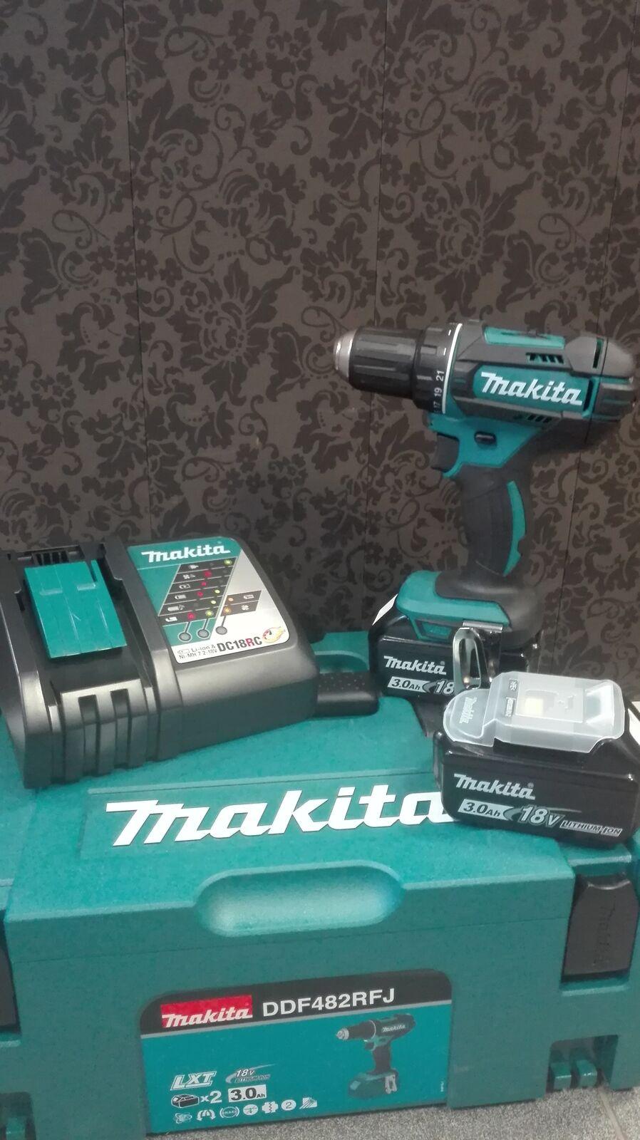 Makita Akku-Bohrschrauber DDF482RFJ 18 V 2 x 3,0 Ah Akkus + Ladegerät
