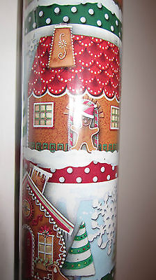 "Punch Studio GINGERBREAD HOUSE CHRISTMAS WRAPPING PAPER.  NWT. 30""X 10 Feet."