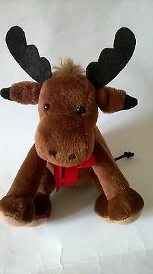 BROWN MOOSE REINDEER SOFT TOY RED RIBBON CHRISTMAS SITTING 6.5 INS