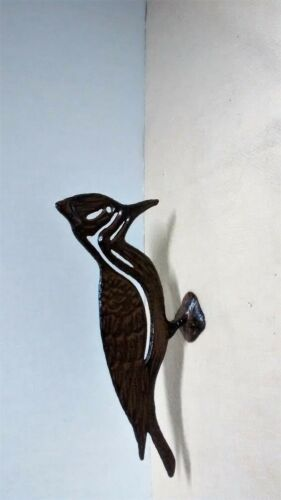 Cast Iron WOODPECKER Garden Statue Rustic Farmhouse Yard Hanger Decor