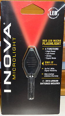 INOVA MICRO LIGHT LED KEYCHAIN KEY RING FLASHLIGHT RED NIGHT VISION NEW