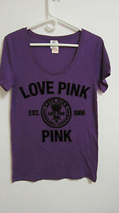 VICTORIA'S SECRET PINK SCOOP NECK TEE FLOCKED GRAPHICS CHOOSE