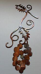 metal wall art decor small grapevine branch with bushel ebay. Black Bedroom Furniture Sets. Home Design Ideas