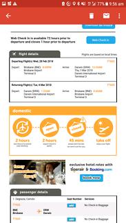return tickets Brisbane to Darwin 28th feb, return 6th March