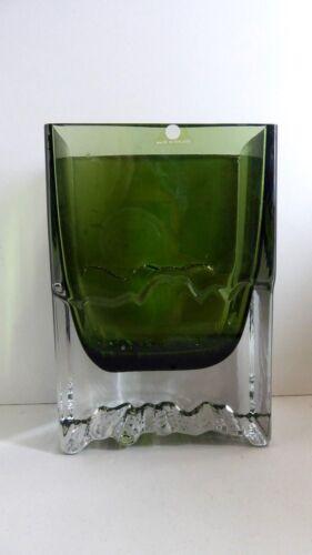 IITTALA FINLAND SCANDINAVIAN GREEN ART GLASS VASE MID CENTURY DESIGN