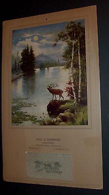 VINTAGE 1927 CALENDAR AND PRINT GEO W TURNER ATKINSON FOX MOOSE MOONLIT LAKE