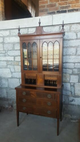 Federal Style Marquetry Secretary Desk Attributed to W.A. Hathaway of New York