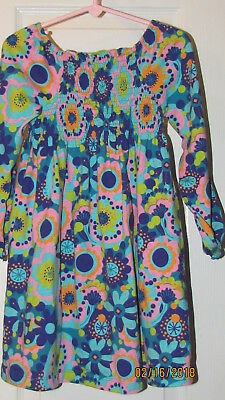 (J KHAKI DRESS LITTLE GIRLS SIZE 5 FLOWERS COLORFUL EUC LONG SLEEVES)