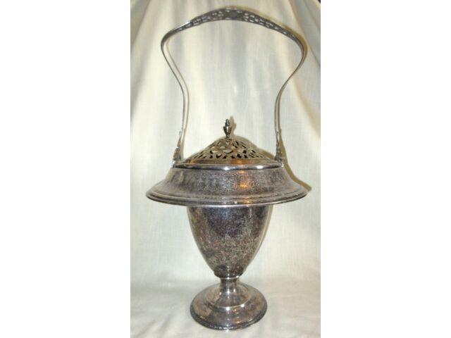 Large Antique Victorian Silver Plate Brides Basket - Wilcox Quad Plate, Numbered