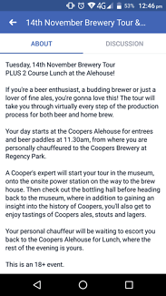 2x tickets to Coopers tour and meal.