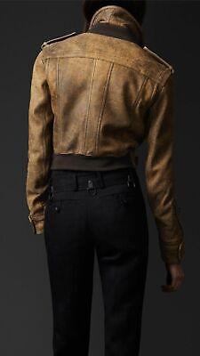 Burberry Prorsum cracked suede leather aviator jacket coat size 40,U.K. 10