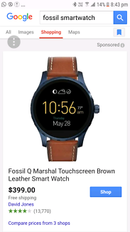 Fossil  wander smart watch android