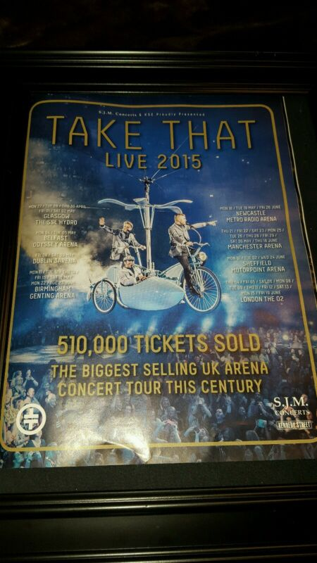 Take That Live 2015 UK Tour Rare Original Promo Poster Ad Framed!