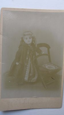 Extremely Rare Early ANTIQUE CABINET PHOTO OF DOLL, Victorian, c.1870, GIFT
