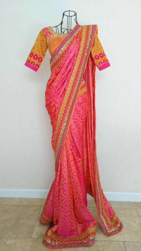 Bollywood Designer Sari - Pink Orange Silk Blend Saree Sequin w/ Zari Embroidery
