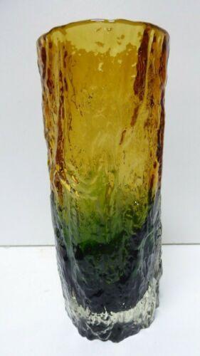VINTAGE MID CENTURY AMBER & GREEN BARK/ICE TEXTURED SCANDINAVIAN RAT GLASS VASE