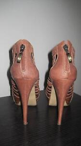 Guess Brown Leather Heels Cornubia Logan Area Preview