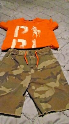 Camouflage-outfit ( Polo RL Camouflage Outfit  Orange/ green S/S Polo shirt size 4 &  shorts sz 5)