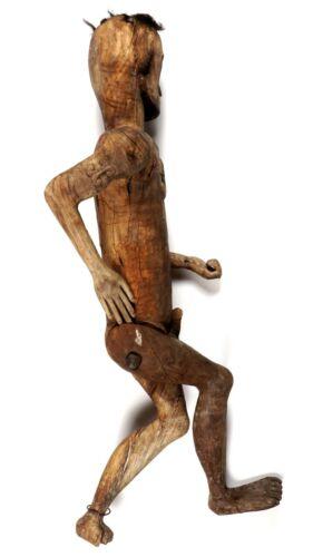Sulawesi Carved Wood Tau Tau Male Guardian Figure, Toraja burial effigy, jointed