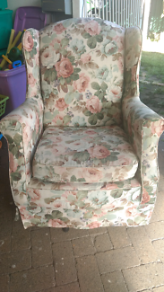 Vintage floral rose armchair, nursery chair