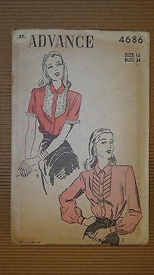 VINTAGE 1940' ADVANCE PATTERN #4686 SEWING MODEL WOMEN FASHION NEW YORK