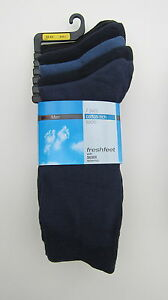 MENS M&S COTTON RICH SOCKS 7 PACK FRESH FEET BNWOT  BLACK - NAVY - BLUE MIX