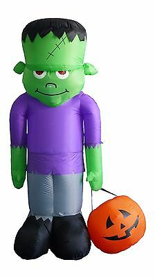 8 Foot Tall Halloween Inflatable Frankenstein Monster & Pumpkin Yard - Frankenstein Halloween Pumpkin
