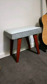 Vintage vinyl and wood stool