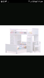 Solid  white wooden single bunk beds