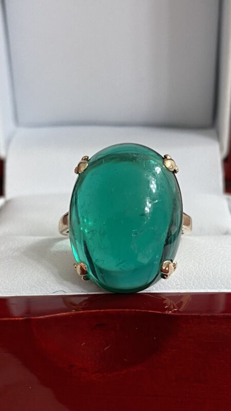 14k Yellow Gold Ladies oval Green Emerald? Solitaire Vintage Cocktail ring Sz6.5