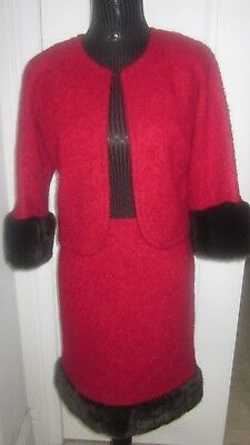 Trina Turk Red Palm Spring Wool Mohair Lined Faux Fur Skirt Suit Jacket Set Sz 6