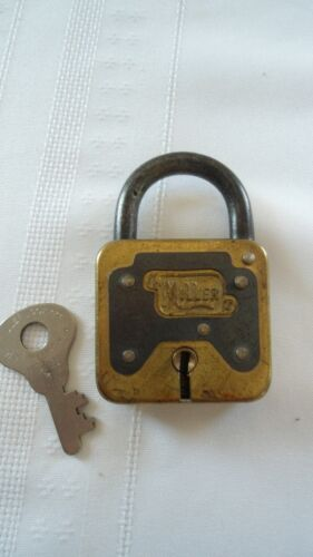 VINTAGE MILLER LOCK With KEY Decor Display, Spring Open Latch